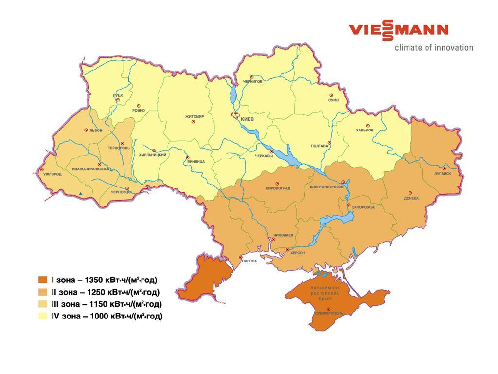 Суммарная инсоляция за год по регионам Украины
