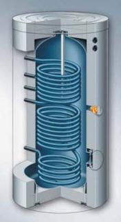 Vitocell 100-B - работающий от двух источников тепла емкостной водонагреватель из стали с эмалированным покрытием Ceraprotect (объем 400 и 500 литров)