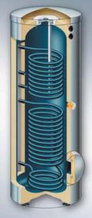 Vitocell-100-B - работающий от двух источников тепла емкостной водонагреватель из стали с эмалированным покрытием Ceraprotect (объем 300 литров)