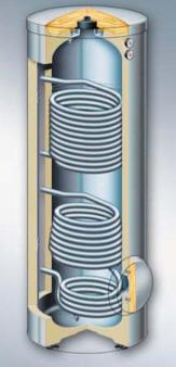 емкостной водонагреватель Vitocell 300-B объемом 300 и 500 литров, изготавливаемый из высококачественной нержавеющей стали