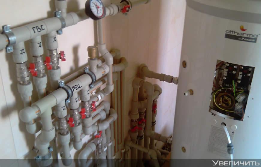 Установка теплового насоса с газовым котлом в бивалентной схеме, бойлера горячей воды.